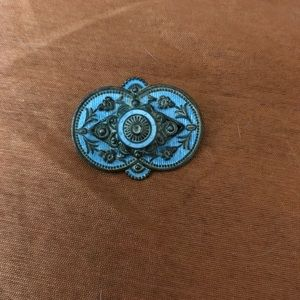 Edwardian Blue Guilloche Brooch 1890-1915